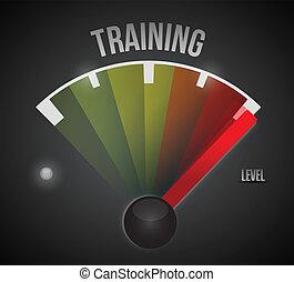treinamento, nível, medida, medidor, de, baixo, para, alto