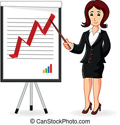 treinamento, negócio mulher, segurando