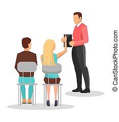 treinamento negócio, vetorial, empregados, ilustração