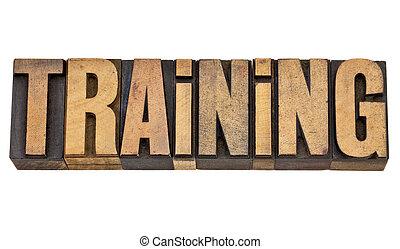 treinamento, palavra, em, letterpress, tipo