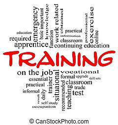 treinamento, palavra, nuvem, conceito, em, vermelho, &, pretas