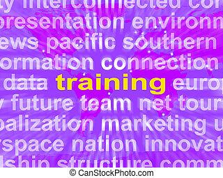 treinamento, palavra, nuvem, meios, educação, desenvolvimento, e, aprendizagem