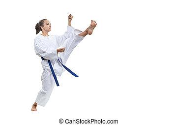 treinamento, perna, atleta, adulto, expedir, pontapé