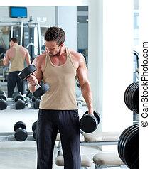 treinamento, peso, equipamento ginásio, desporto, homem