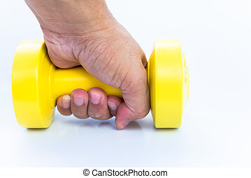 treinamento peso, usando, dumbbell