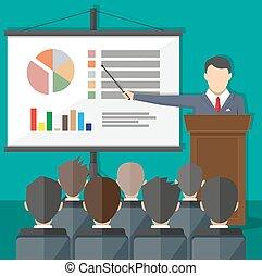 treinamento, pessoal, escola negócio, relatório, reunião