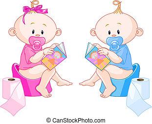 treinamento potty, bebês