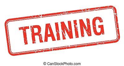 treinamento, quadrado vermelho, grungy, vindima, isolado,...