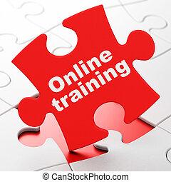 treinamento, quebra-cabeça, fundo, educação online, concept: