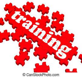 treinamento, quebra-cabeça, mostrando, negócio, treinar