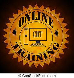 treinamento, símbolo, online