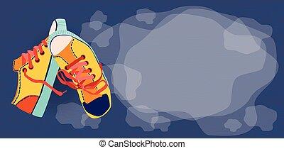 treinamento, sapatos atletismo, coloridos, espaço, cópia, bandeira, vazio
