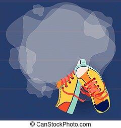 treinamento, sapatos atletismo, coloridos, espaço, cópia, vazio