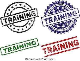 treinamento, selos, textured, danificado, selo