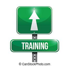 treinamento, sinal estrada, ilustração, desenho