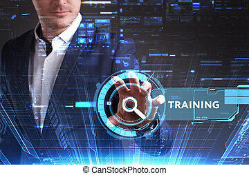 treinamento, vê, rede, trabalhando, inscription:, concept., jovem, virtual, negócio, futuro, internet, homem negócios, tela, tecnologia