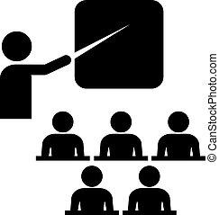 treinamento, vetorial, ícone