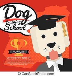treinamento, vetorial, cão, escola