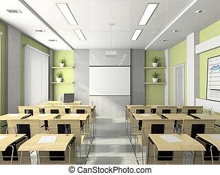 treinamentos, reuniões, seminários, lecture-room, estudos, interior, ou
