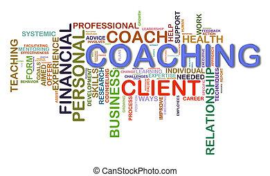 treinar, palavra, etiquetas