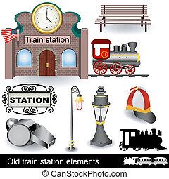 treine estação, antigas, elementos