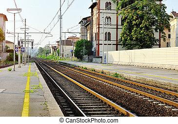treine estação, e, aço, estrada ferro, trilhas, itália