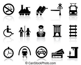 treine estação, e, serviço, ícones
