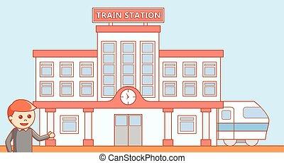 treine estação, ilustration