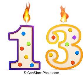 treize, 13, formé, années, anniversaire, anniversaire, blanc...