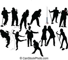 treize, vecto, silhouettes., chanteur