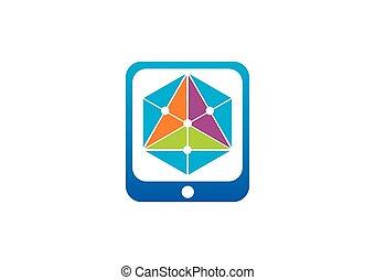 trekant, geometri, abstrakt, farve, vektor, logo
