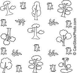 trekken, blad, doodle, boompje, hand, hout