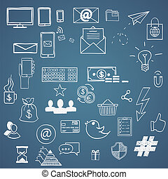 trekken, concept, elements., tweet, media, symbool, sociaal, communicatie, meldingsbord, hashtag, internet, doodles, hand