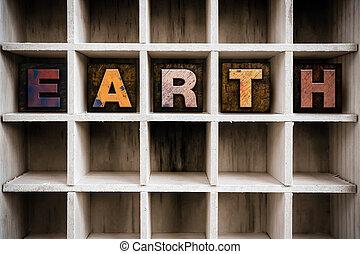 trekken, concept, letterpress, houten, aarde, type