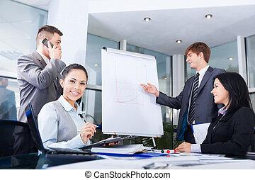 trekken, groep, zakenlui, tabel, team