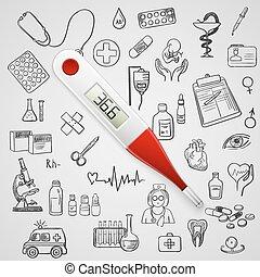 trekken, hand, thermometer, geneeskunde, elektronisch, pictogram