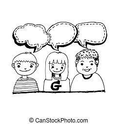 trekken, mensen, doodle, illustratie, hand, ontwerp, praatje, pictogram