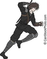 trekken, ninja, strijder, rennende