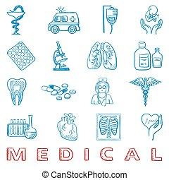 trekken, set, doodle., hand, gezondheid, geneeskunde, care, pictogram