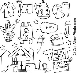 trekken, set, school, hand, doodles, opleiding