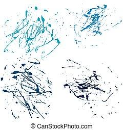 trekken, set, splatter, abstract, hand, verf , vector, achtergrond, witte