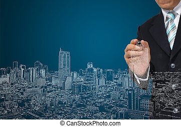 trekken, zakelijk, architect, cityscape, of, man