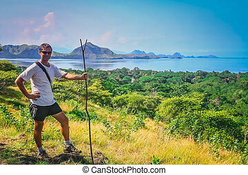 Trekker on Komodo Island