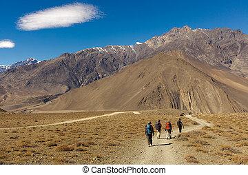 Trekkers in Nepal - Four trekkers walking in annapurna...