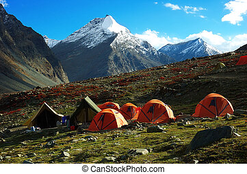Trekking camp in Ladakh region, Himalaya, India....