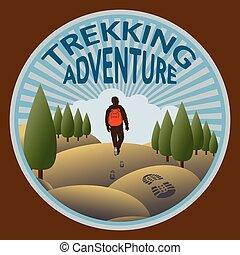 trekking, dans, les, sauvage, nature