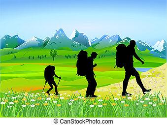 trekking, em, a, montanhas altas