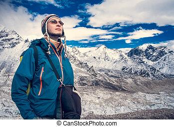 trekking, em, himalaya, montanhas