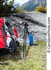 Trekking equipment in mountains