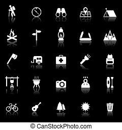 trekking, icônes, à, porter atteinte, arrière-plan noir